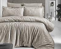 Комплект постельного белья First Сhoice Lamone Toprak жаккардовый 220*200 см капучино