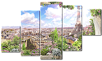 Модульная картина Interno Холст Вид из окна на Париж 123х69см (R4961M)