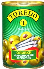 Оливки фаршированные Анчоусами ИСПАНИЯ 280 грамм