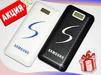 Повербанк Samsung 30 000mAh с Led фонариком, 2 USB, PowerBank самсунг с экраном, универсальная батарея БЕЛЫЙ
