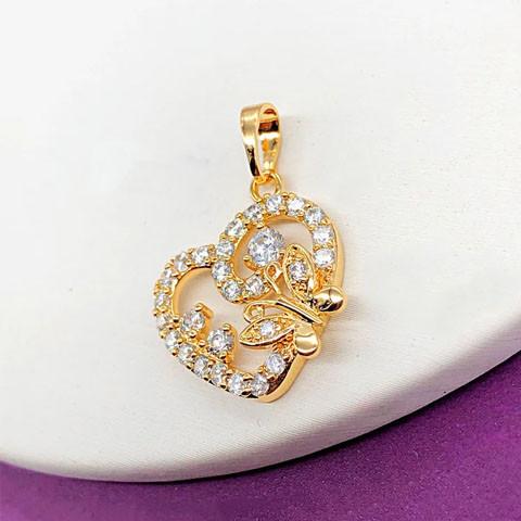 Кулон Xuping Jewelry бабочка на сердечке медицинское золото, позолота 18К. А/В 4653