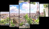 Модульная картина Interno Эко кожа Вид из окна на Париж 158х90см (A4961XL)