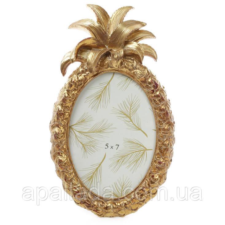 Рамка для фото овальная Ананас, 28см, цвет - состаренное золото
