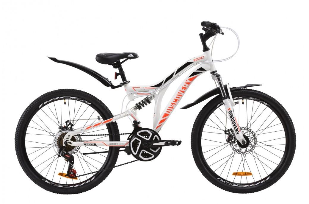 """Велосипед (детский) подростковый горный 24"""" Discovery Rocket DD 2020 стальная рама 15"""" бело-оранжевый с черным"""