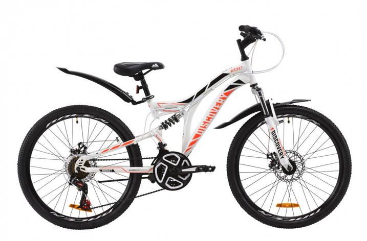 """Велосипед (детский) подростковый горный 24"""" Discovery Rocket DD 2020 стальная рама 15"""" бело-оранжевый с черным, фото 2"""