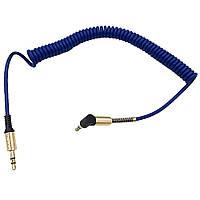 Кабель аудио AUX 3.5 jack 1.5м (угол 90°) пружина