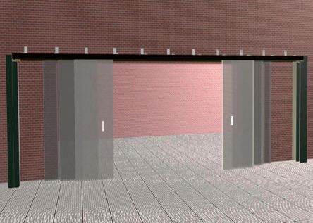 Откатные встречные шести-створчатые противопожарные ворота Alutech Marc-R