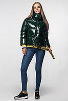 Уникальная модная женская зимняя куртка - рюкзак с поясом, лаковая оверсайз 46, Изумруд