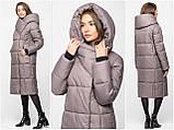 Модний зимовий атласний пуховик - пальто KTL з об'ємним коміром, фото 6