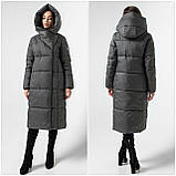 Модний зимовий атласний пуховик - пальто KTL з об'ємним коміром, фото 7