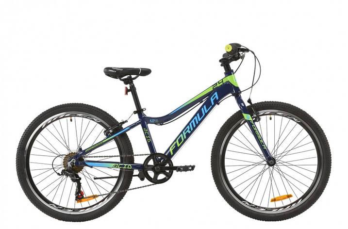 """Велосипед подростковый 24"""" Formula Acid 1.0 Vbr 2020 алюминиевая рама 12"""" индиго с салатовым и голубым, фото 2"""