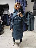 Модний зимовий атласний пуховик - пальто KTL з об'ємним коміром, фото 8