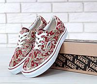 Кеды Vans ERA женские, красные с белым, в стиле Ванс Эра, матераил - текстиль, подошва - резина, код KD-10796.