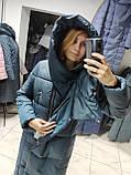 Модний зимовий атласний пуховик - пальто KTL з об'ємним коміром, фото 9