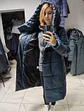Модний зимовий атласний пуховик - пальто KTL з об'ємним коміром, фото 10