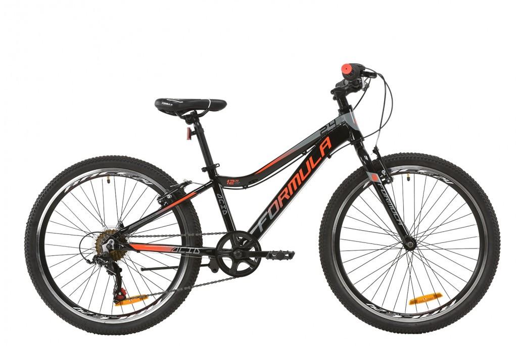 """Велосипед подростковый 24"""" Formula Acid 1.0 Vbr 2020 алюминиевая рама 12"""" черно-красный с серым"""