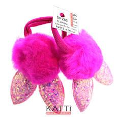 KATTi резинка для волос 26 282 средняя цветная с ушками блестки битое-стекло с мехом 2шт, фото 3
