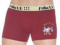 Размер LТрусы шорты, новогодние мужские боксерки, хлопок, Fuko UB 8091