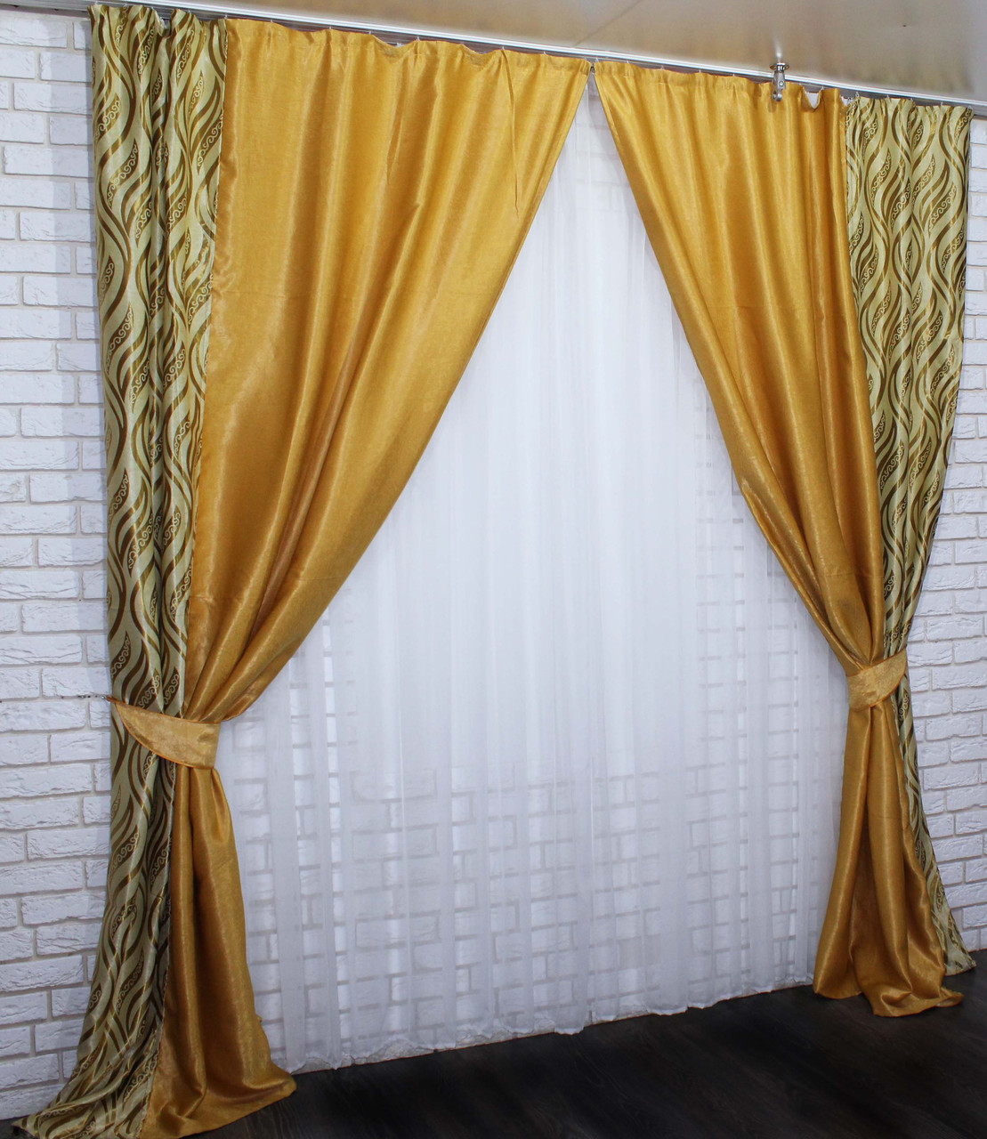 Комбинированные (1,52х2,73) шторы из ткани блекаут. Код 014дк (373-274 Б)  10-067