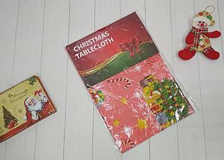 Новогодняя красная скатерть с елочкой ПВХ 137*120 см