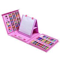 """Набір для малювання SUNROZ Super Mega Art Set """"Набір юного художника"""" з мольбертом 208 шт Рожевий (SUN6349)"""