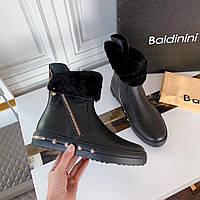 Ботинки кожаные с мехом Baldinini