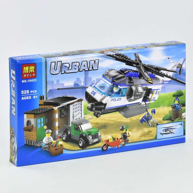 """Конструктор 10423 Bela Urban (18) """"Вертолетный патруль"""" 528 деталей, в коробке"""