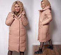 Пальто женское с капюшоном батал   Герда, фото 1