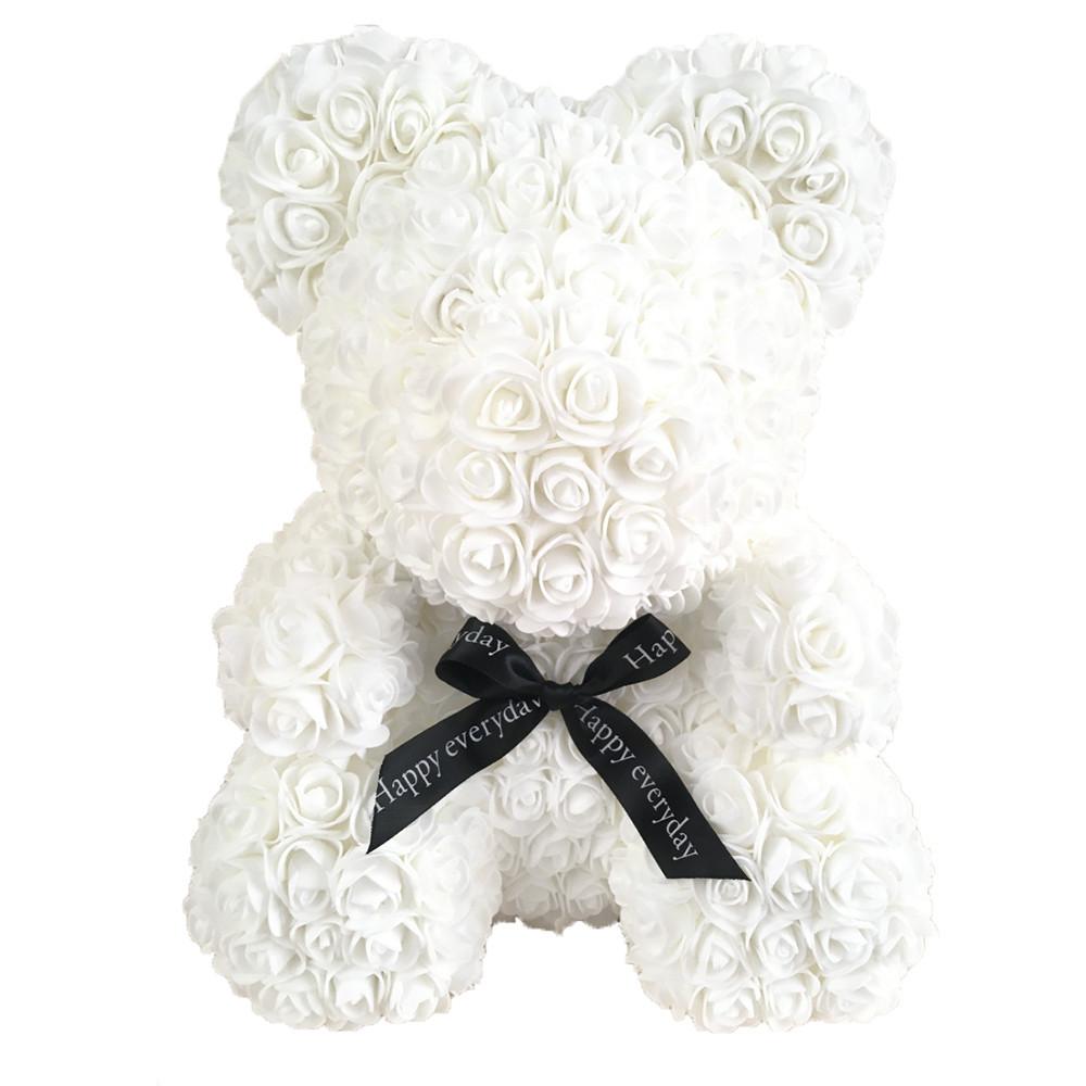 Мишка из роз в коробке 25 см -  Белый