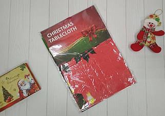 Красная праздничная скатерть на новогодний стол ПВХ 137*120 см
