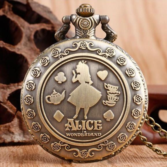 Кишеньковий годинник на ланцюжку Аліса в країні чудес