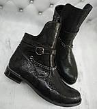 Ботинки демисезонные на низком каблуке из натуральной кожи от производителя модель НИ1238К, фото 2