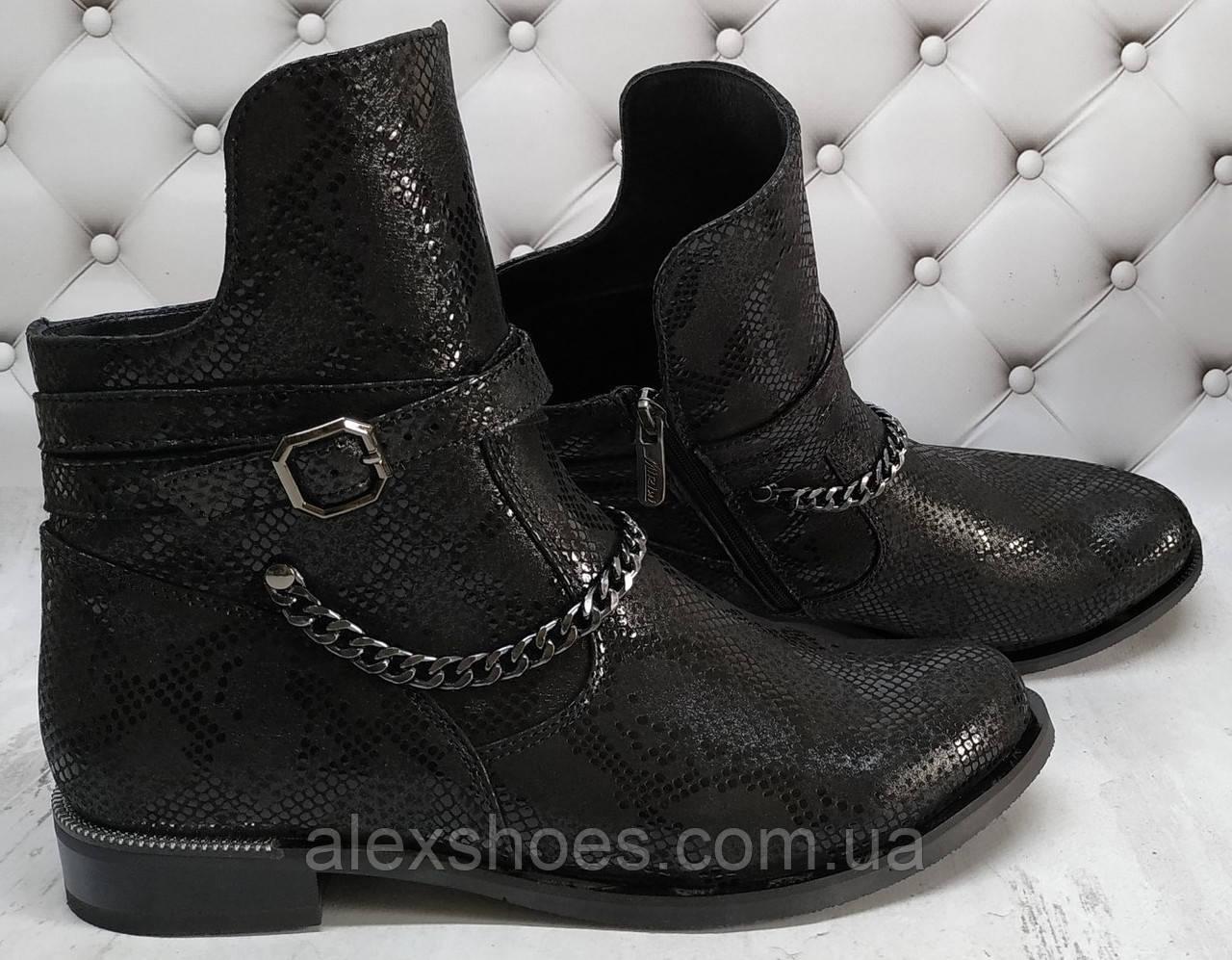 Ботинки демисезонные на низком каблуке из натуральной кожи от производителя модель НИ1238К