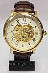 Часы Slava механика кожаный ремешок коричневый/золотой