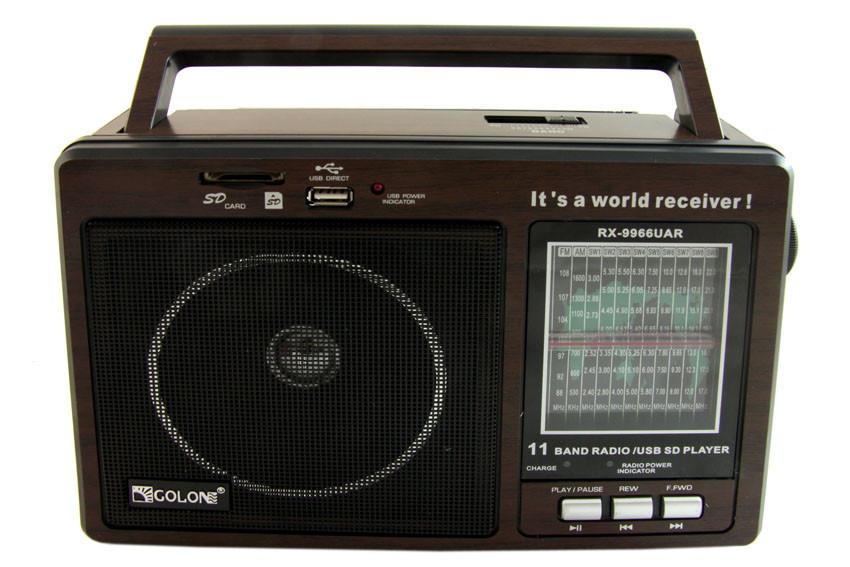 Портативный радио приемник Golon RX-9966UAR + ПОДАРОК: Держатель для телефонa L-301