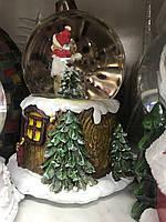 Рождественский шар со снегом-музыкальный 15-18 см