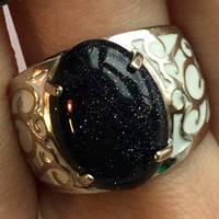 Серебряное кольцо родированное с авантюрином Ночь Каира и эмалью СФ-033