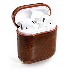 Чехол для наушников Apple AirPods - Оригинальный кожаный темно-коричневый кейс футляр для наушников