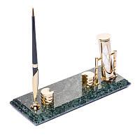 Настольная визитница BST 540040 24х10 с песочными часами и ручкой мраморная