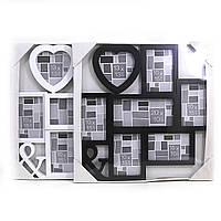 """0200 Семейная фоторамка с сердечком на 7 фото 7 в 1 """"Heart"""", mix2 (10*15)*5+13*13+20*10"""