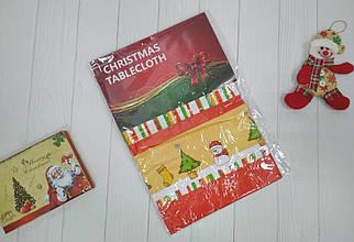 Новогодняя столовая скатерть Снеговик из ПВХ 137*120 см