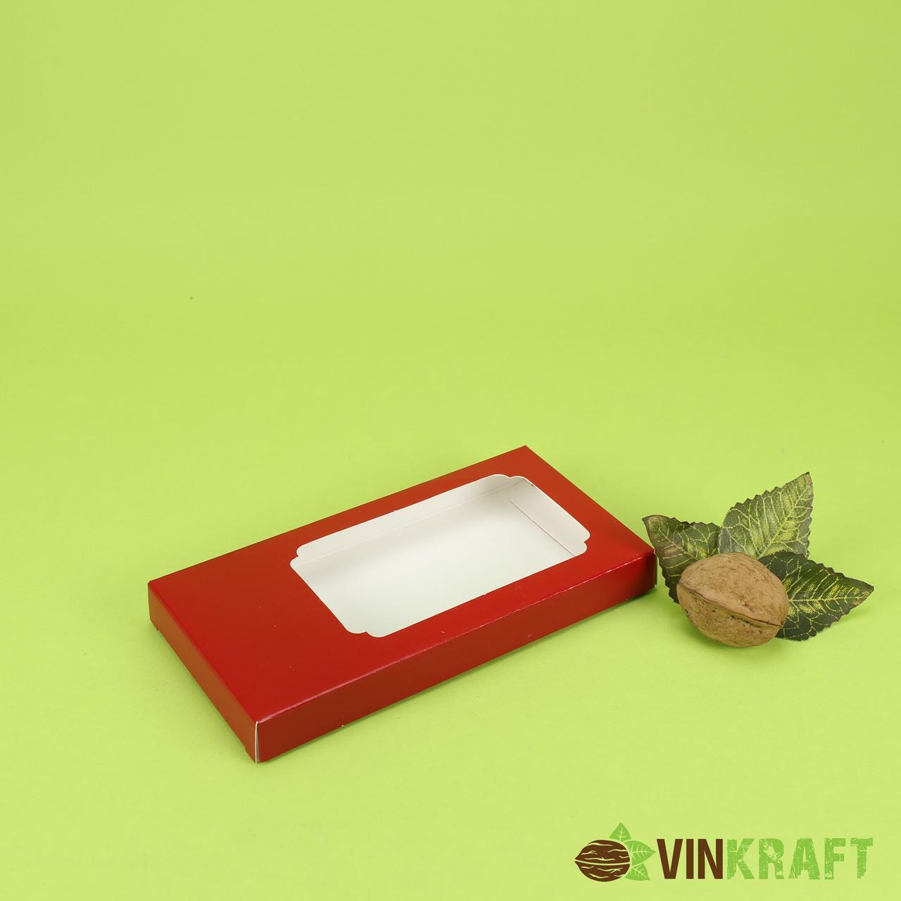 Коробка 160*80*17 для шоколадки (окно без пленки), красная