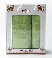 Набор полотенец для рук и тела Жаккард зеленый