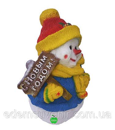 """Новогодняя садовая фигура Снеговик """"С Новым годом"""", фото 2"""