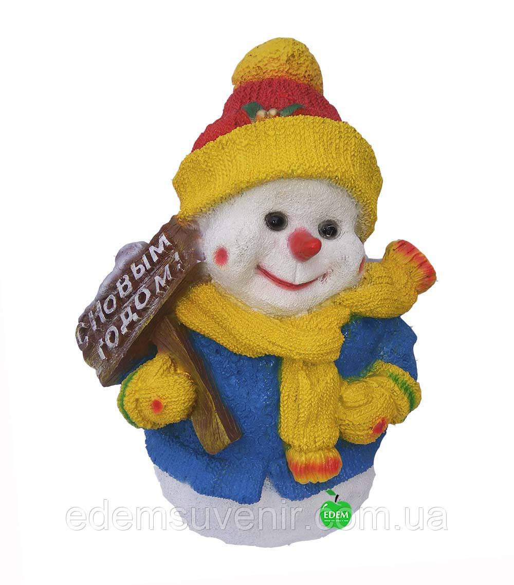 """Новогодняя садовая фигура Снеговик """"С Новым годом"""""""