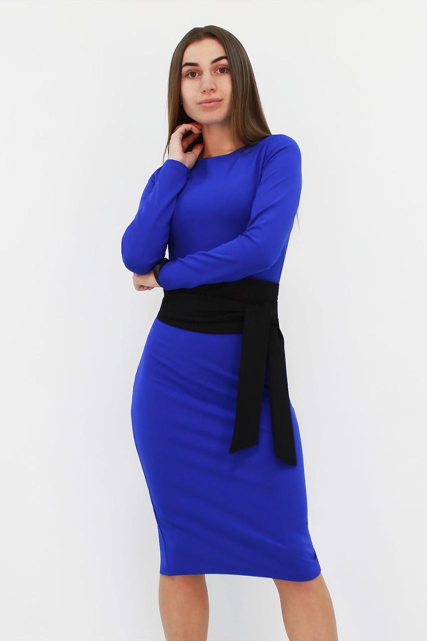 S, M, L / Жіноче класичне плаття з поясом Karina, синій