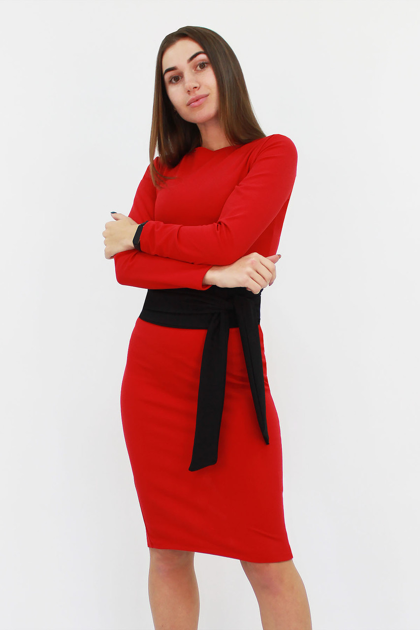 S, M, L / Жіноче класичне плаття з поясом Karina, червоний