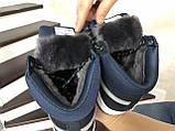 Мужские зимние кроссовки высокие на меху в стиле Puma Suede (замша, набивная шерсть, замша, черные с серым), фото 6