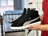 Мужские зимние кроссовки высокие на меху в стиле Puma Suede (замша, набивная шерсть, замша, черные с серым), фото 2