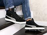 Мужские зимние кроссовки высокие на меху в стиле Puma Suede (замша, набивная шерсть, замша, черные с серым), фото 4